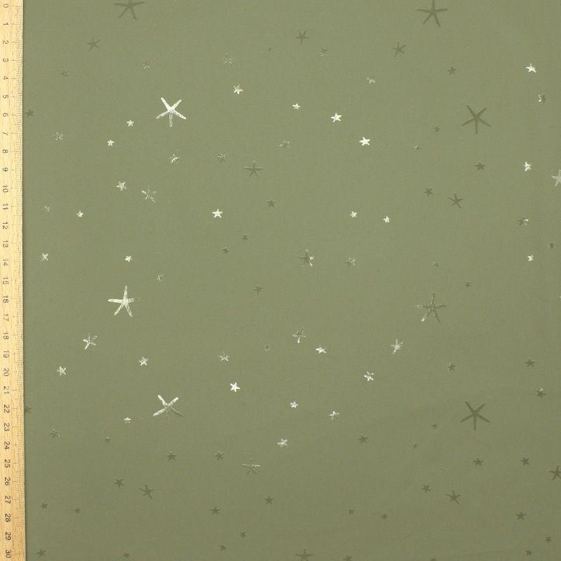 Tissu imperméable étoiles - kaki