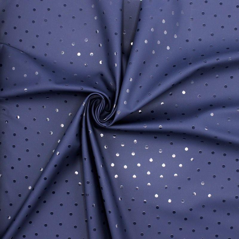 Tissu imperméable pois - Bleu marine