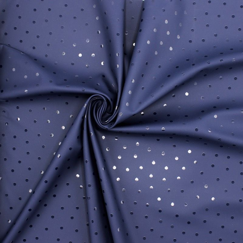 Waterproof fabric with dots - navy blue