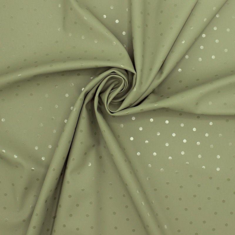 Tissu imperméable pois - kaki