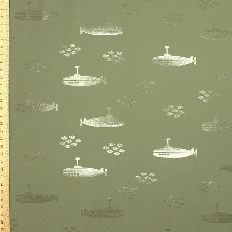 Waterdichte stof met duikboot - kaki