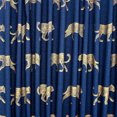 100% katoen met gouden luipaard - blauw