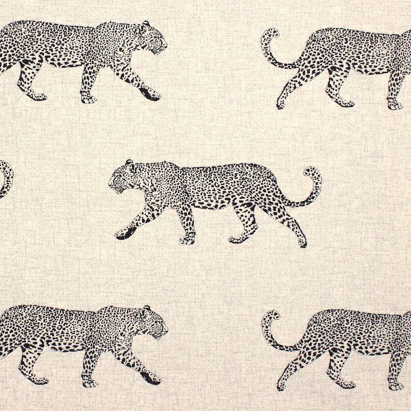 100% katoen met gouden luipaard - natuur beige