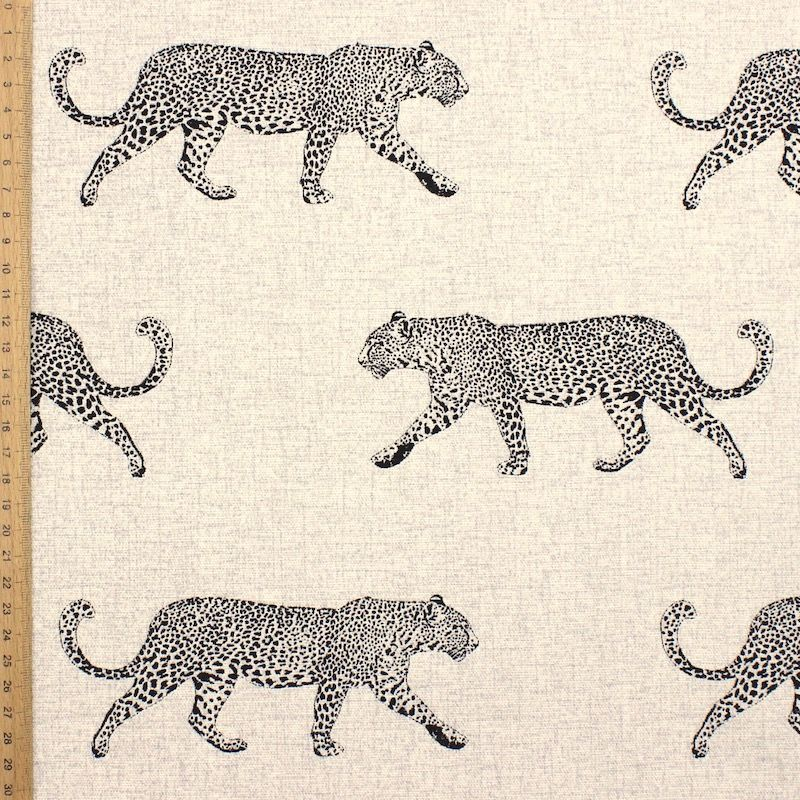 100% cotton with golden leopard - natural