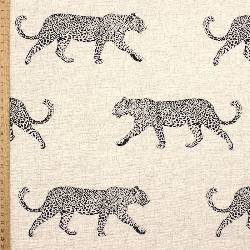 Tissu d'ameublement léopard noir - naturel