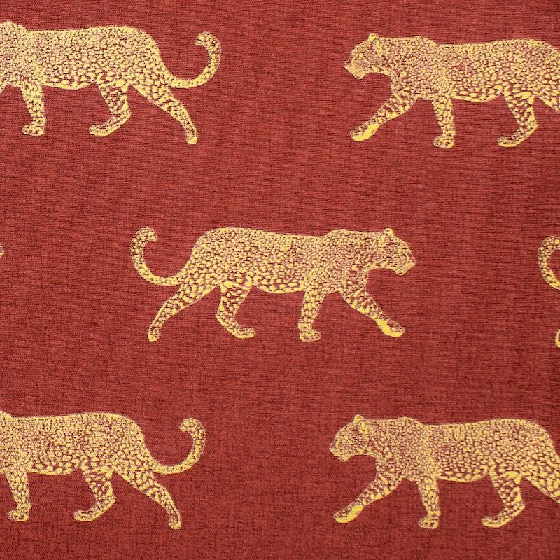 100% cotton with golden leopard - rust-colored