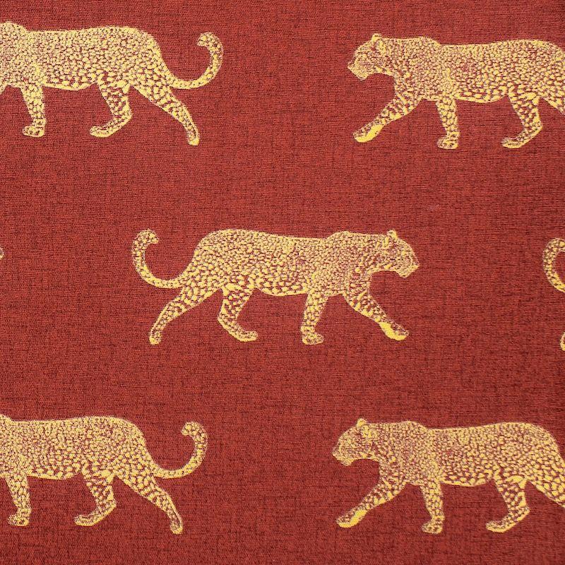 Tissu d'ameublement léopard doré - rouille
