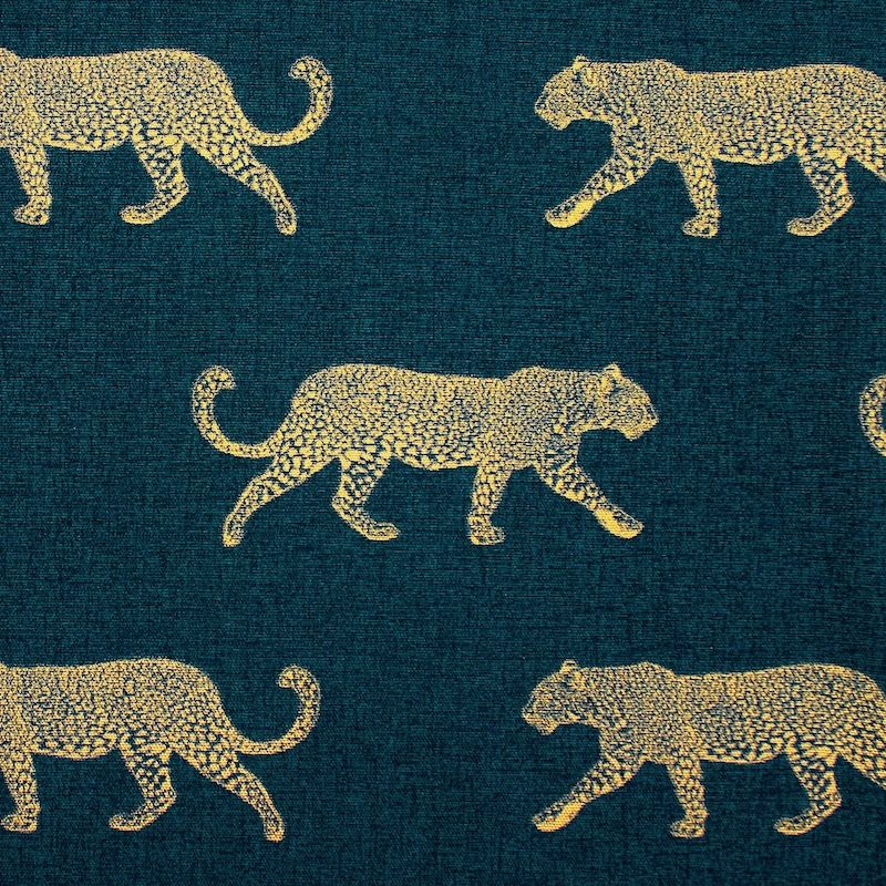 100% cotton with golden leopard - teal