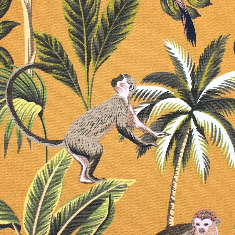 100% katoen met apen en planten - mosterdgeel