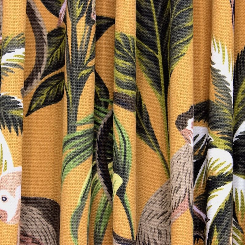 100% cotton with monkeys and foliage - mustard yellow