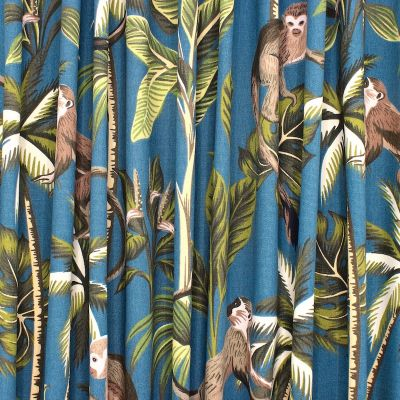 100% cotton with monkeys and foliage - blue