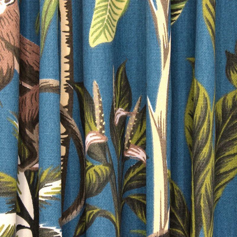Tissu 100% coton singe et végétal - bleu