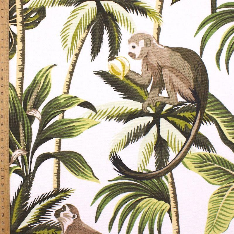 100% katoen met apen en planten - wit