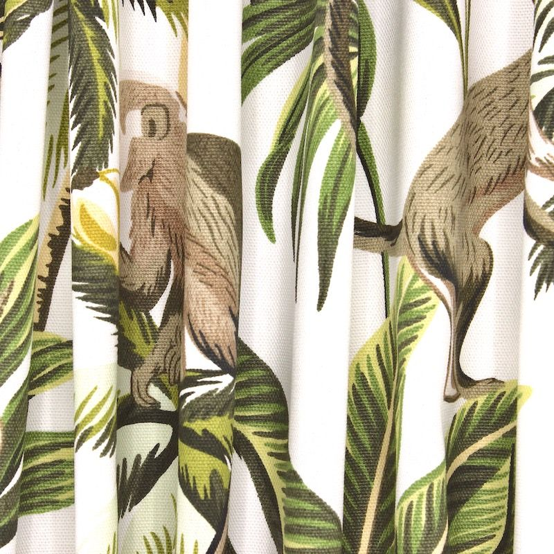100% cotton with monkeys and foliage - white