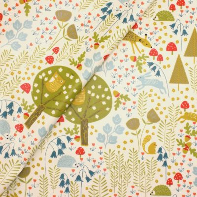Coated cotton printed with forest animals