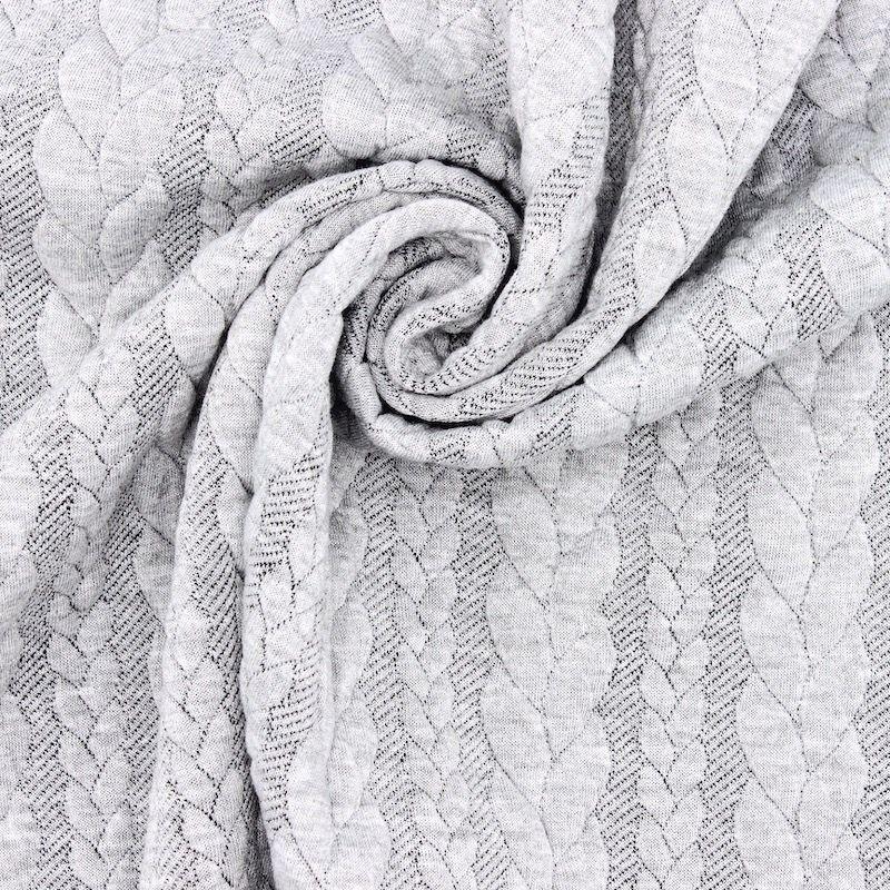 Tissu jersey  à motif torsade gris clair