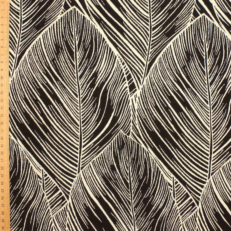Jacquard meubelstof - zwart en goud