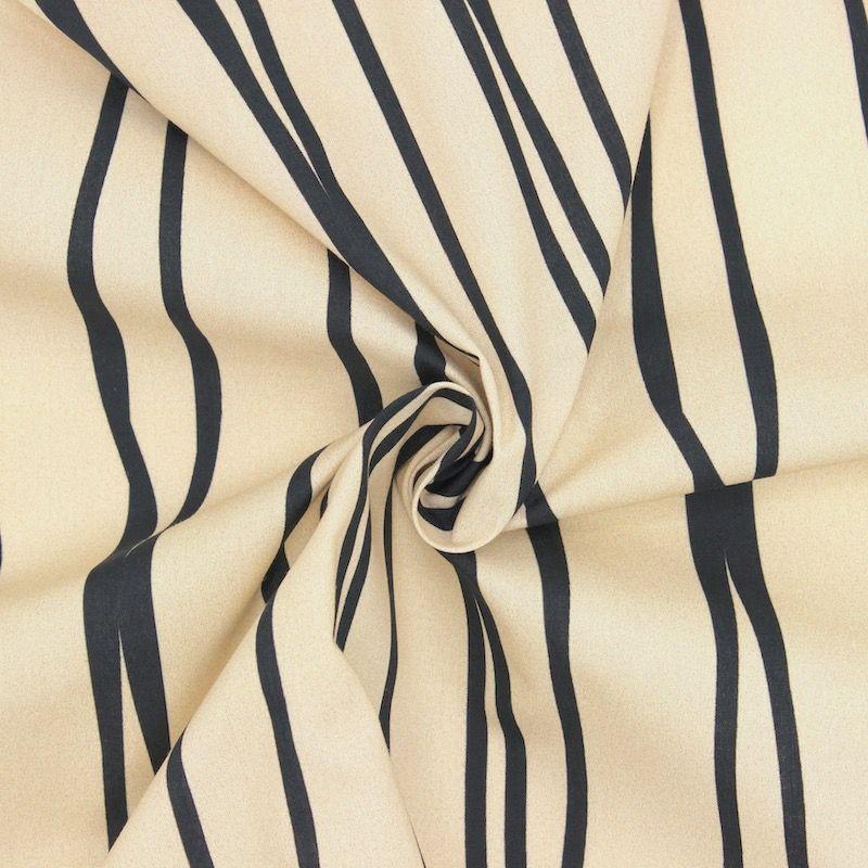 Popeline coton graphique - beige/noir