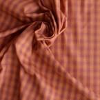 Orange checked cotton fabric