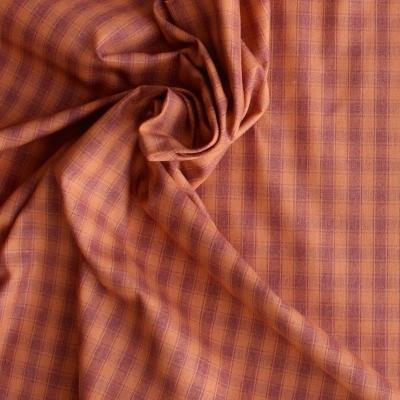 Tissu en coton à carreaux oranges