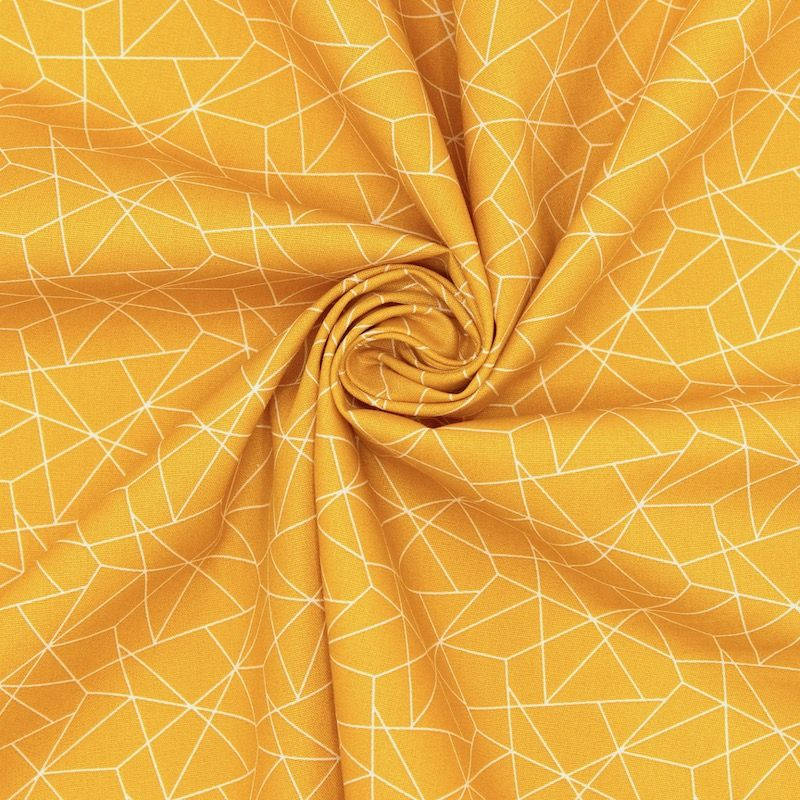 Cotton with graphic print - mustard yellow