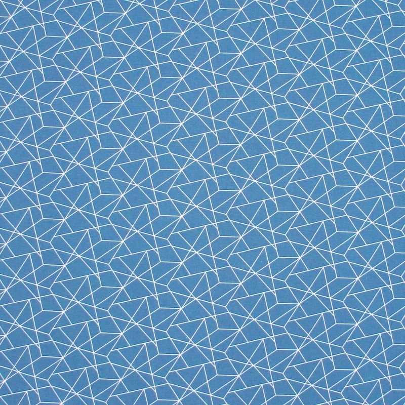Katoen met grafische motief - jeansblauw