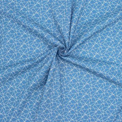 Tissu coton géométrique - jean's