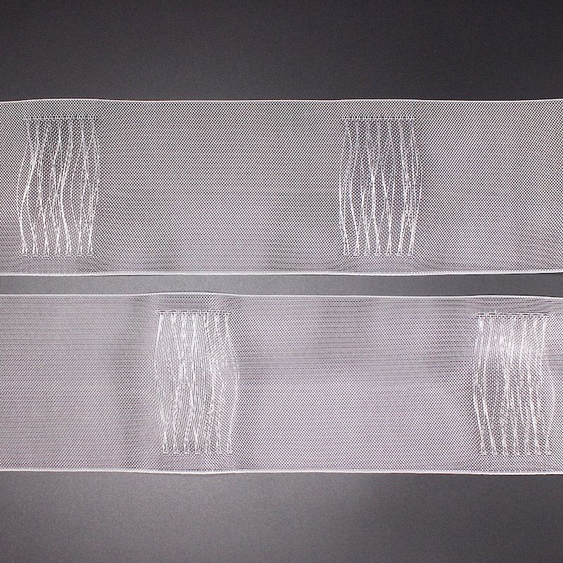 Header tape with woven hidden loop 100mm