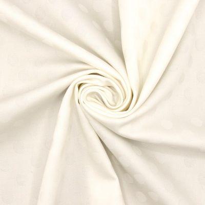 Tissu jacquard extensible pois - blanc cassé
