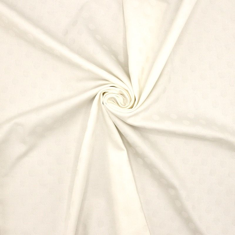 Extensible jacquard fabric with dots - off white