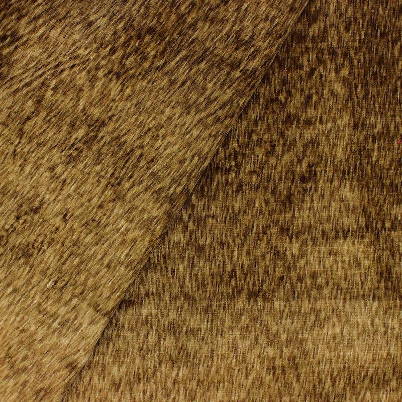 Tissu velours effet flammé beige doré