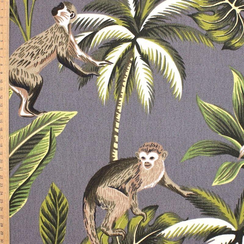 100% katoen met apen en planten - grijs