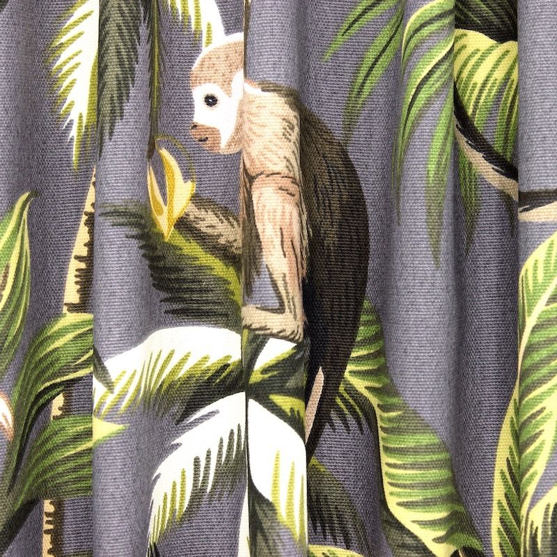 100% cotton with monkeys and foliage - grey