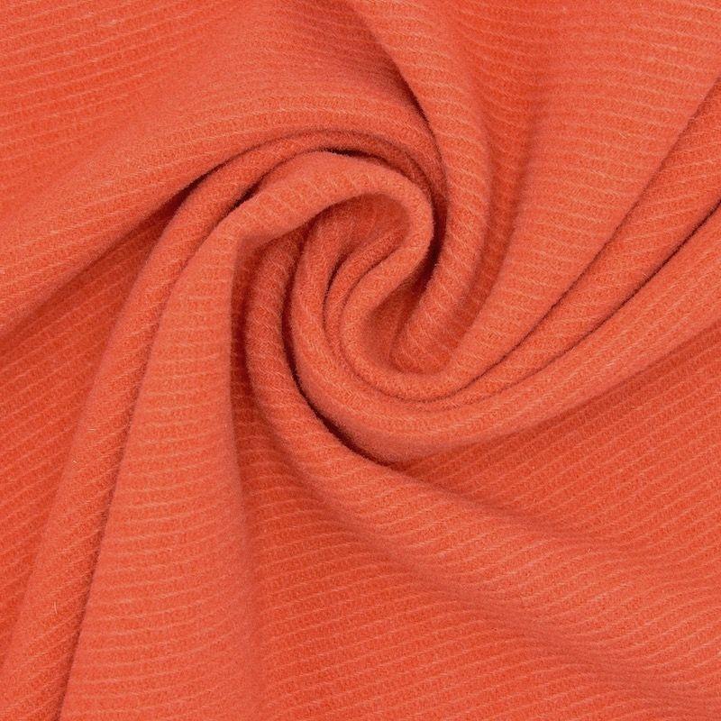 Tissu laine aspect gros sergé orange brûlée