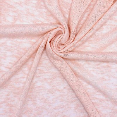Tissu maille jacquard ajourée rose