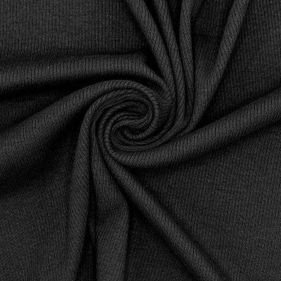 Tissu maille côtelé noir