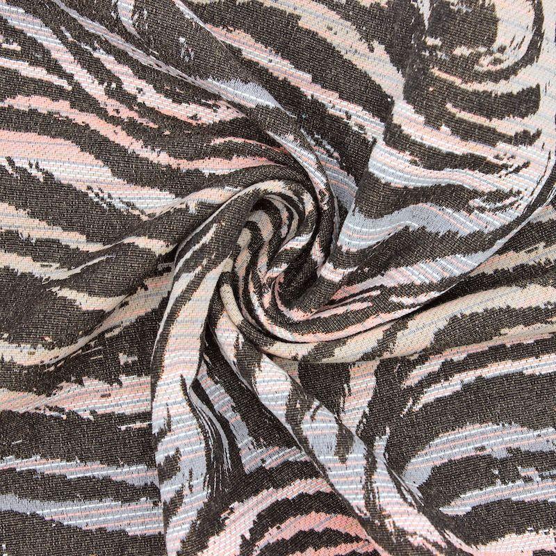 Zebra jacquard fabric - grey / pink