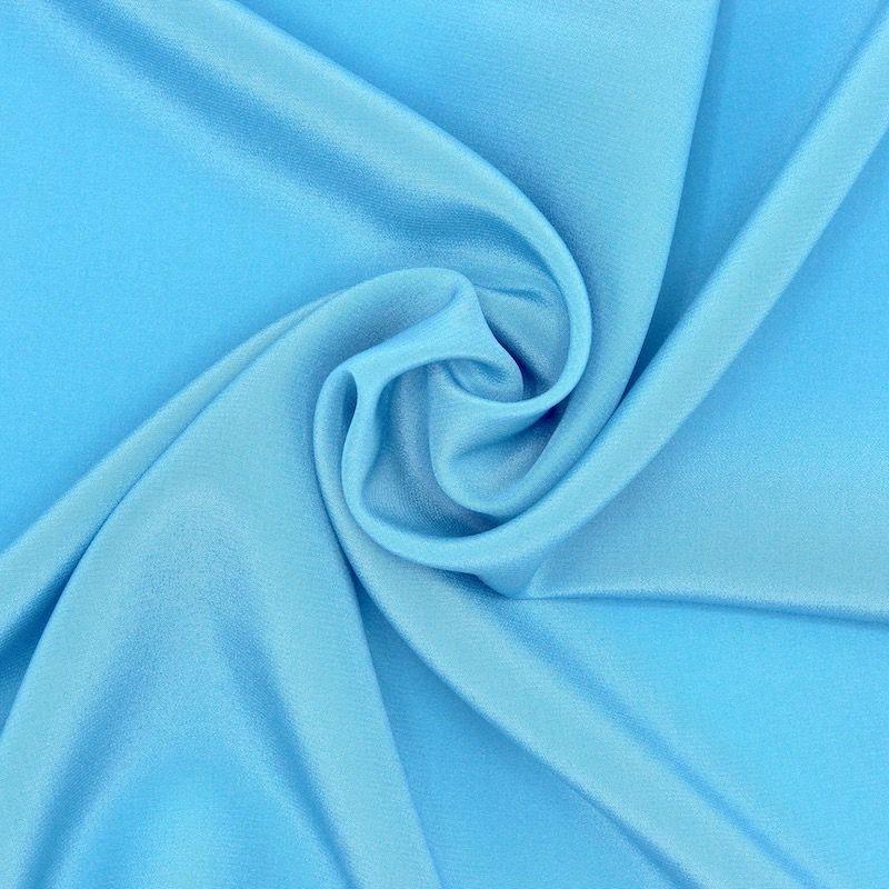 Tissu crêpe satin 100% soie bleu céleste