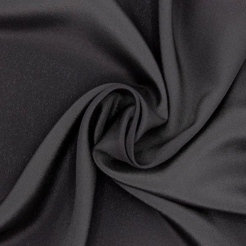 Satin crêpe 100% silk - black