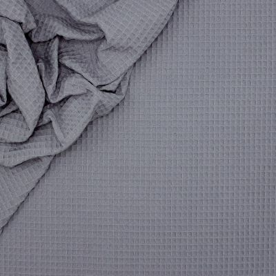Piqué de coton gaufré nid d'abeille mauve cendré
