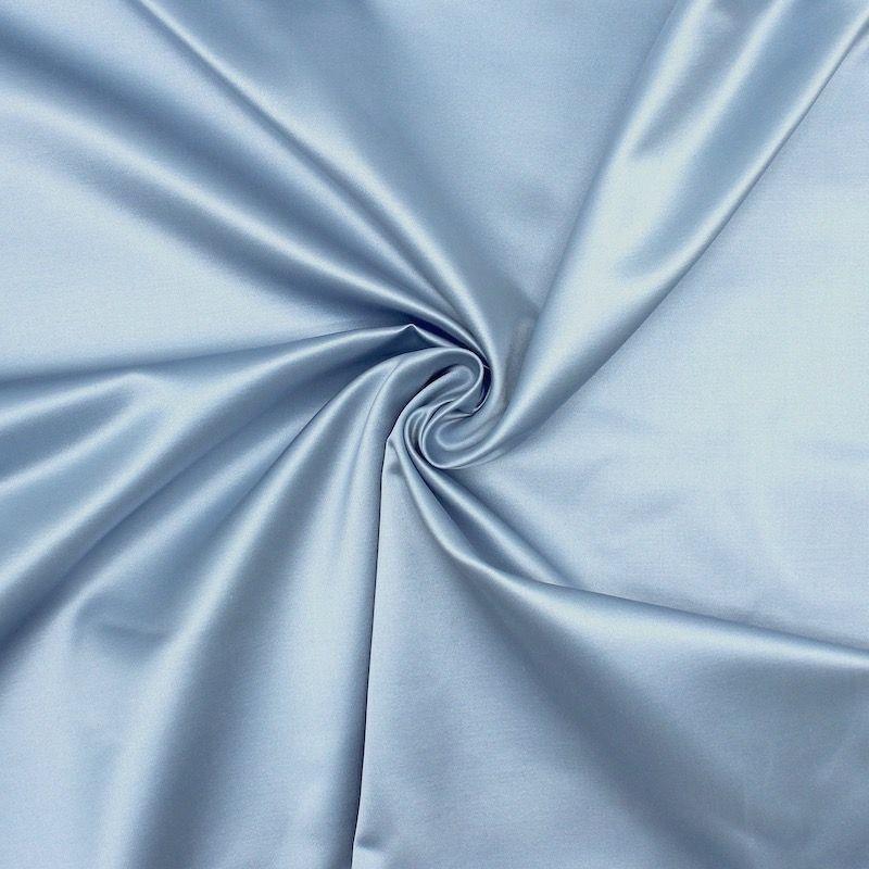Satin Cuir 100% soie bleu ciel