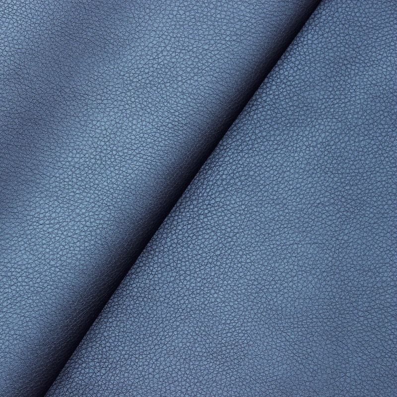 Simili cuir bleu satiné