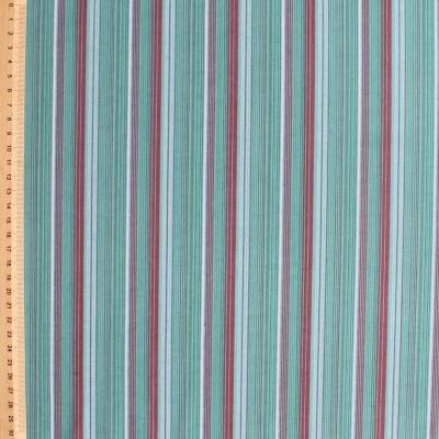 Tissu en coton à lignes bleues et mauves