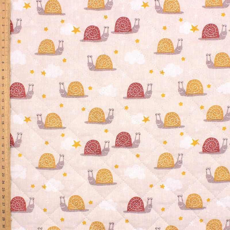 Quilted double-sided printed fabric - beige / rust-colored