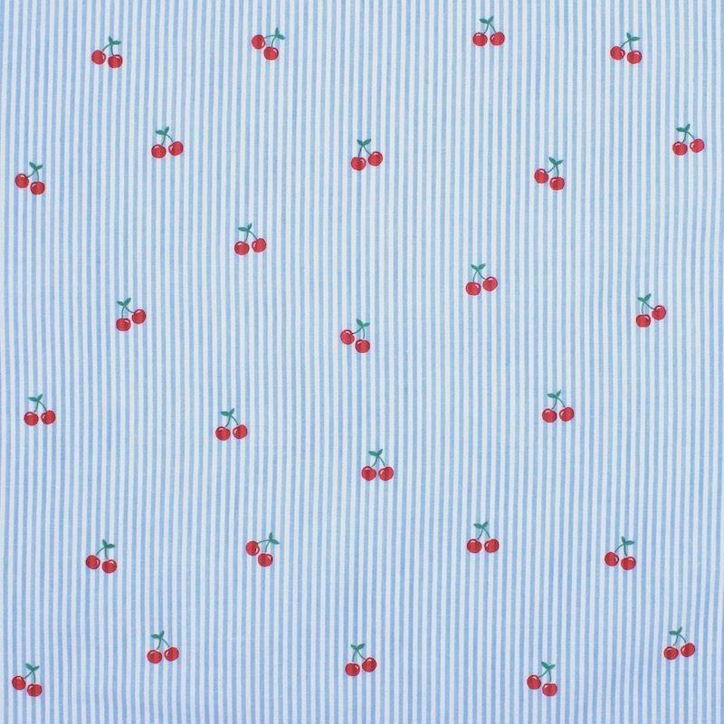 Tissu Seersucker ligné cerises - ciel et blanc