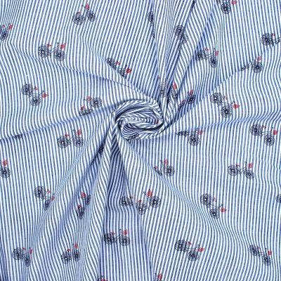 Tissu Seersucker vélo - bleu et blanc