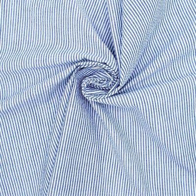 Tissu Seersucker ligné - bleu et blanc
