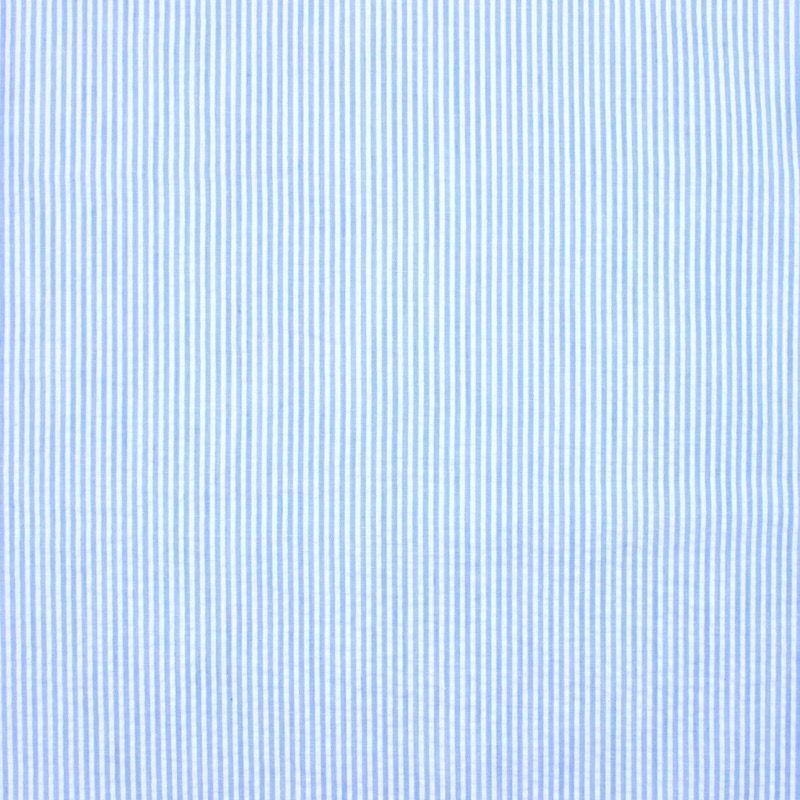 Tissu Seersucker ligné - ciel et blanc