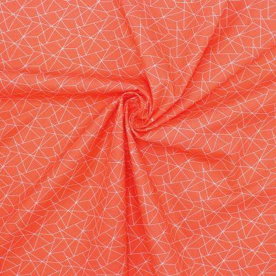 Katoen met geometrische motief - oranje