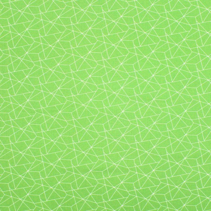 Katoen met geometrische motief - weidegroen